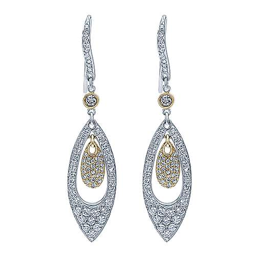 Gabriel - 14k Yellow/white Gold Silk Drop Earrings