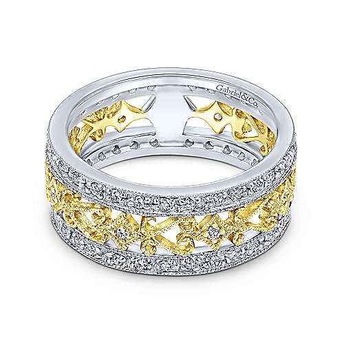 Gabriel - 14k Yellow/white Gold Flirtation Fashion Ladies' Ring