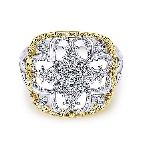 14k Yellow/white Gold Victorian Fashion