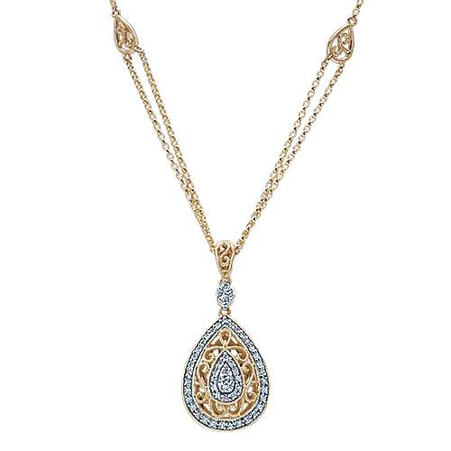 Gabriel - 14k Yellow/white Gold Victorian Fashion Necklace