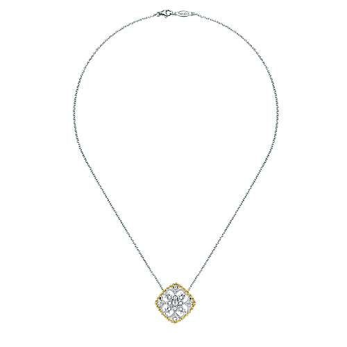 14k Yellow/white Gold Diamond Fashion Necklace angle 2