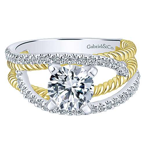 Gabriel - 14k Yellow/white Gold Round Free Form Engagement Ring