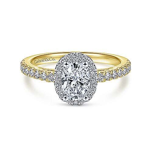 Gabriel - 14k Yellow/white Gold Oval Halo Engagement Ring
