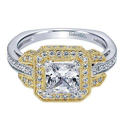 14k Yellow/white Gold Diamond Halo