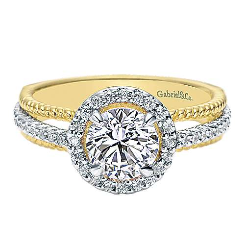 Gabriel - 14k Yellow/white Gold Riata Engagement Ring
