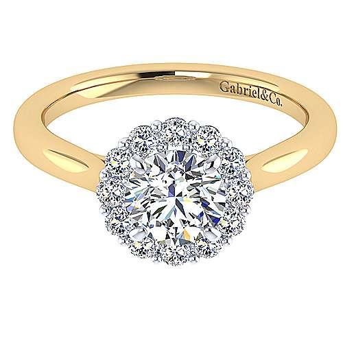 Gabriel - 14k Yellow/white Gold Round Halo Engagement Ring