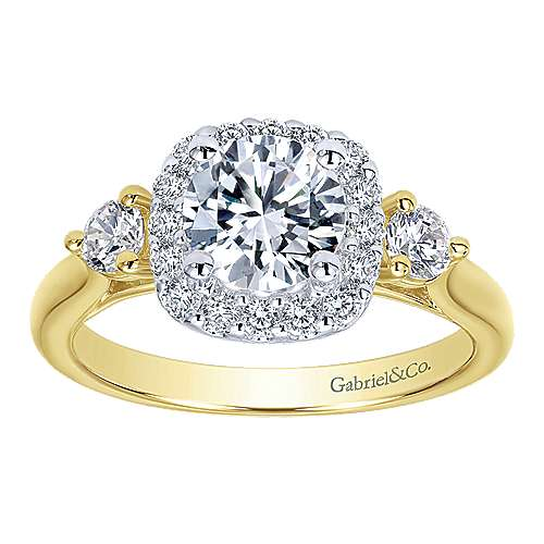 14k Yellow/white Gold Diamond Halo Engagement Ring angle 5