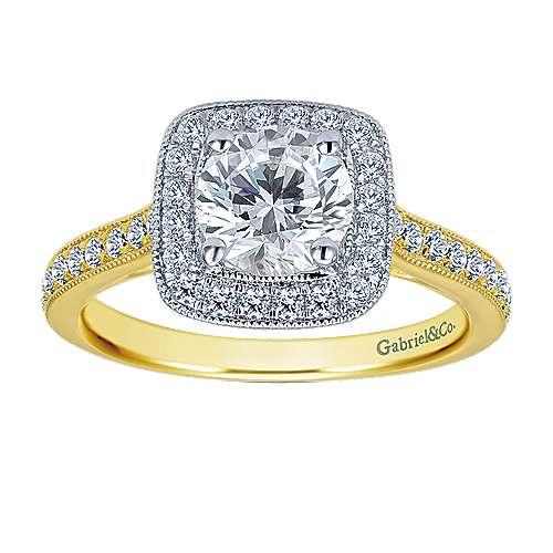 14k Yellow/white Gold Diamond Halo Engagement Ring angle 4