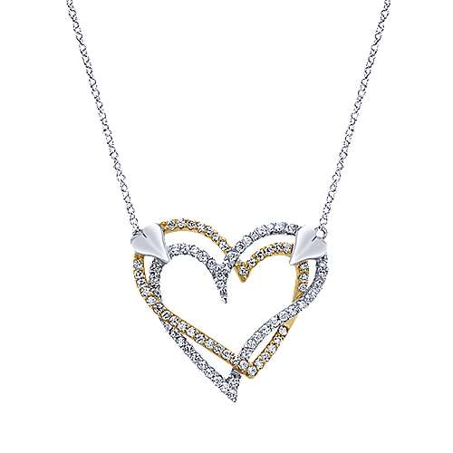 Gabriel - 14k Yellow/white Gold Eternal Love Heart Necklace
