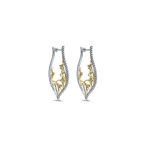 Gabriel - 14k Yellow/white Gold Hoops Intricate Hoop Earrings