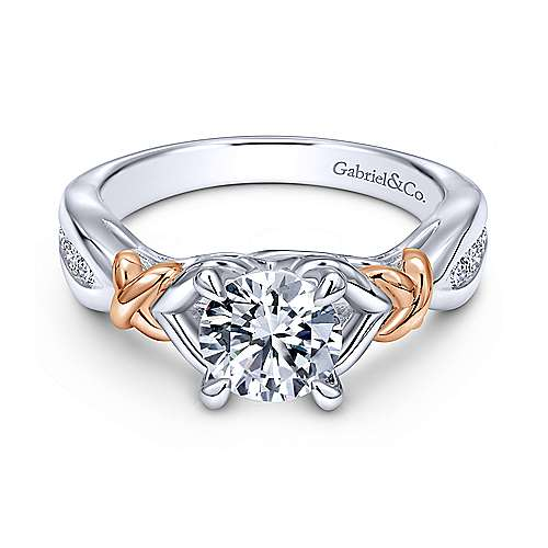 Gabriel - 14k Yellow/white Gold Round Split Shank Engagement Ring