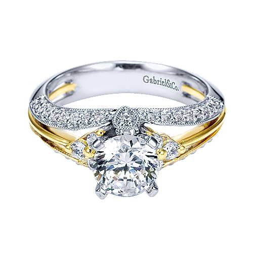 Gabriel - 14k Yellow/white Gold Round Split Shank Engagement Ring