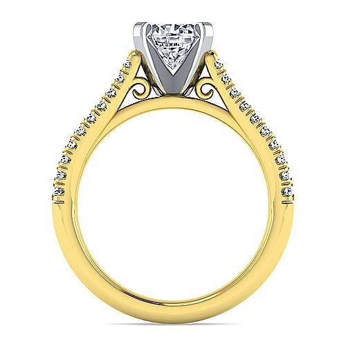 14k Yellow/white Gold Diamond Split Shank Engagement Ring angle 2