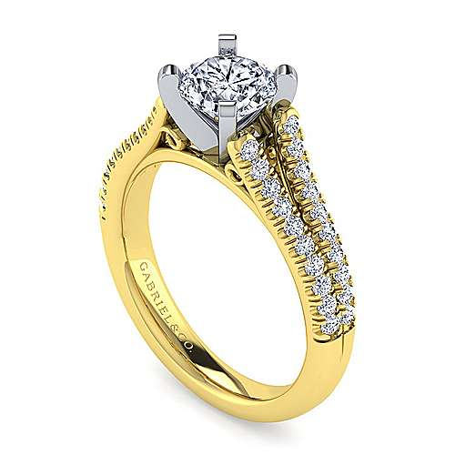 14k Yellow/white Gold Diamond Split Shank Engagement Ring angle 3