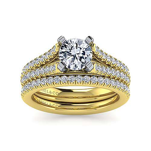 14k Yellow/white Gold Diamond Split Shank Engagement Ring angle 4