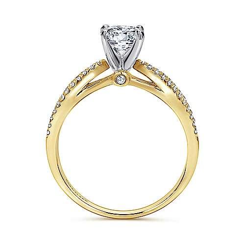 14k Yellow/white Gold Diamond Split Shank Engagement Ring angle 2