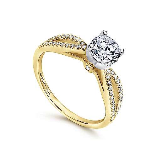 14k Yellow/white Gold Diamond Split Shank Engagement Ring angle 3