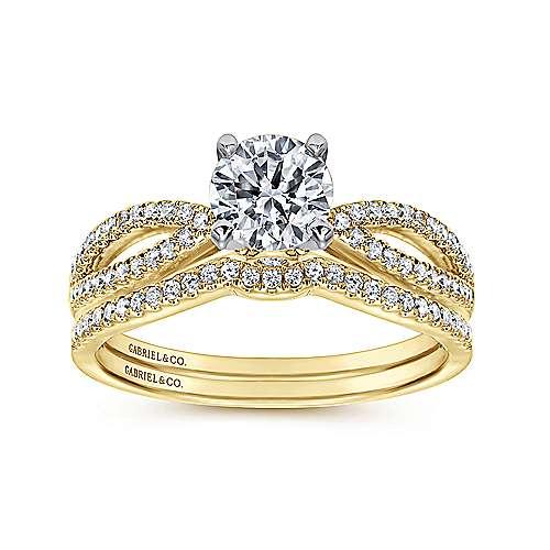 14k Yellow/white Gold Diamond Split Shank Engagement Ring angle 4