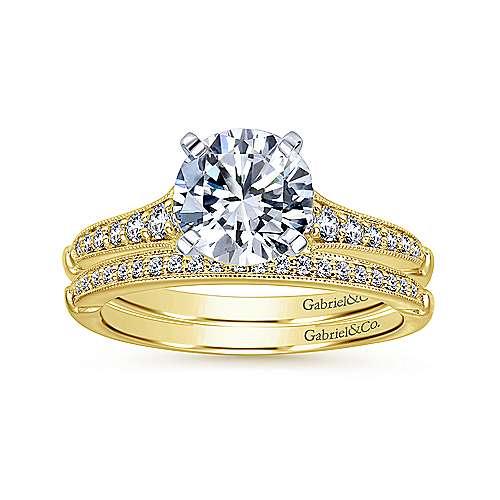 14k Yellow/white Gold Diamond Straight Engagement Ring angle 4