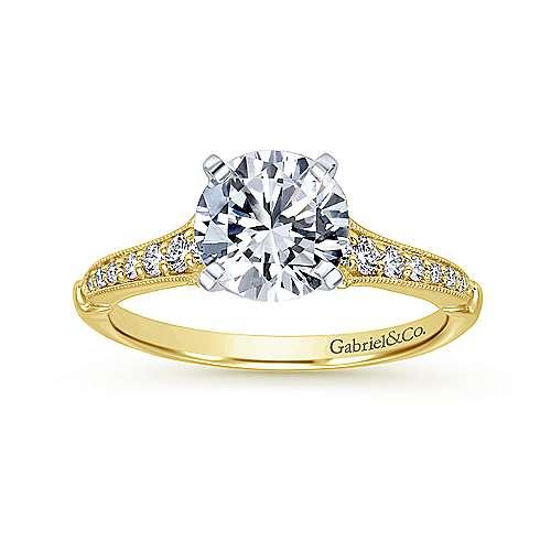 14k Yellow/white Gold Diamond Straight Engagement Ring angle 5