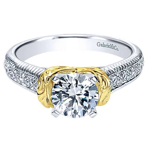 14k Yellow/white Gold Diamond Straight Engagement Ring angle 1