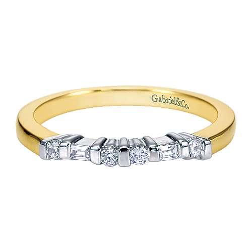 Gabriel - 14k Yellow/white Gold Contemporary Straight Wedding Band