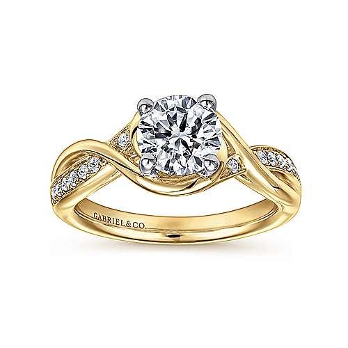14k Yellow/white Gold Diamond Twisted Engagement Ring angle 5
