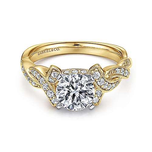 Gabriel - 14k Yellow/white Gold Victorian Engagement Ring