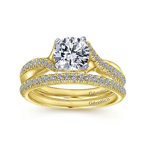 14k Yellow/white Gold Diamond Twisted Engagement Ring angle 4