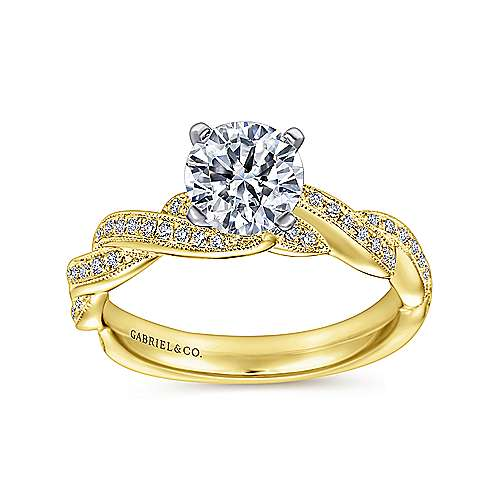 14k Yellow/white Gold Diamond Twisted Engagement Ring angle 5