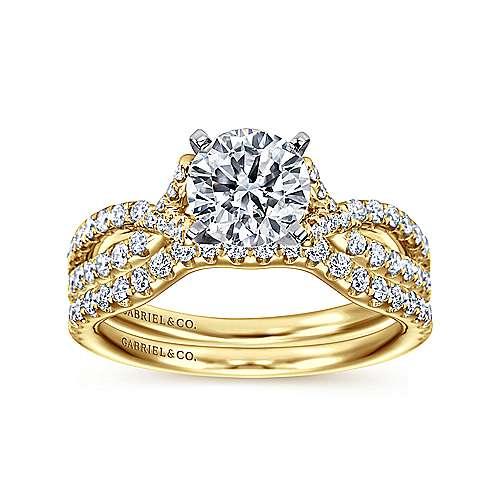 14k Yellow/white Gold Diamond Twisted Engagement Ring angle 4
