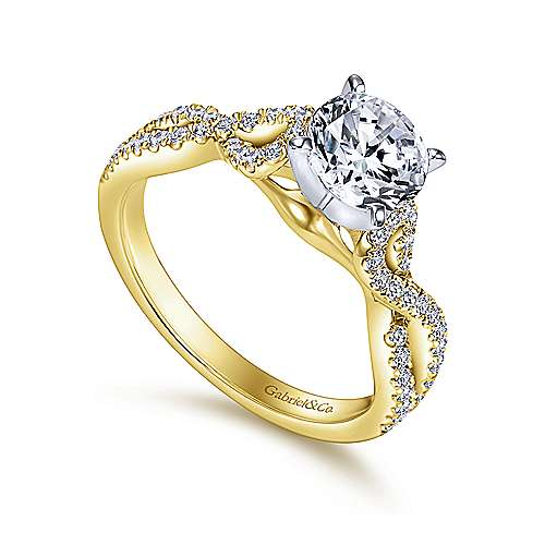 14k Yellow/white Gold Diamond Twisted Engagement Ring angle 3