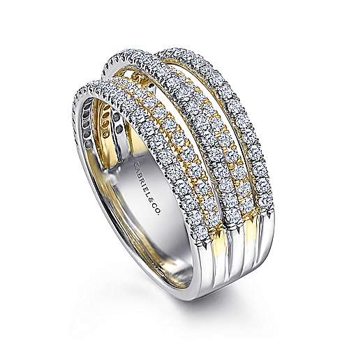 14k Yellow/white Gold Diamond Wide Band Ladies