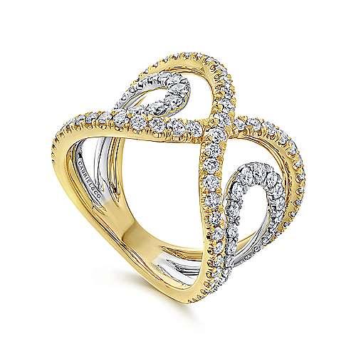 14k Yellow/white Gold Diamond Wide Band Ladies