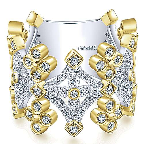 Gabriel - 14k Yellow/white Gold Lusso Diamond Wide Band Ladies' Ring