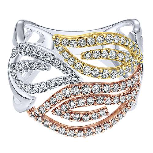 14k Yellow/white Gold Diamond Wide Band