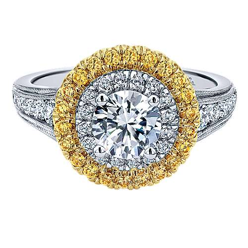 Gabriel - 14k Yellow/white Gold Round Double Halo Engagement Ring