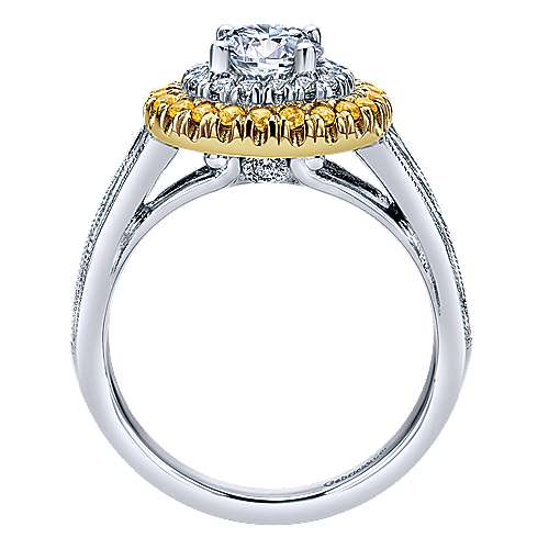 14k Yellow/white Gold Diamond Yellow Sapphire Double Halo Engagement Ring angle 2