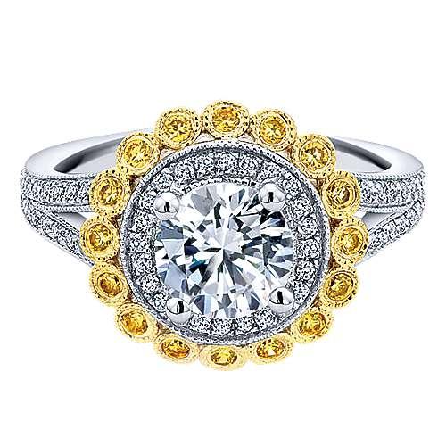 14k Yellow/white Gold Diamond Yellow Sapphire Double Halo