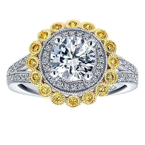 14k Yellow/white Gold Diamond Yellow Sapphire Double Halo Engagement Ring angle 5