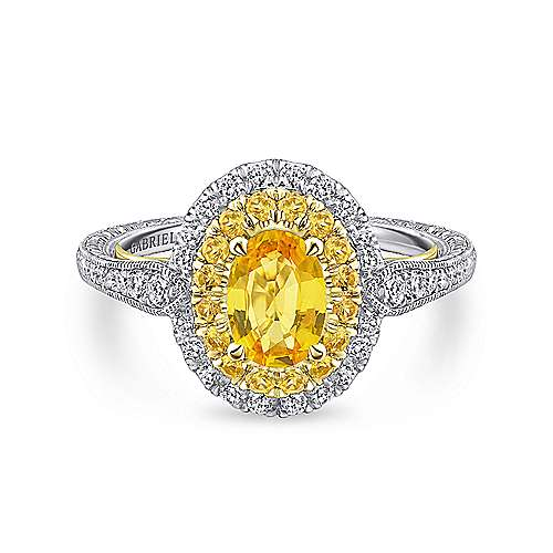 Gabriel - 14k Yellow/white Gold Oval Double Halo Engagement Ring