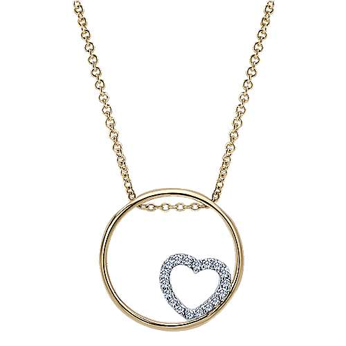 Gabriel - 14k Yellow/white Gold Eternal Love Heart Necklace