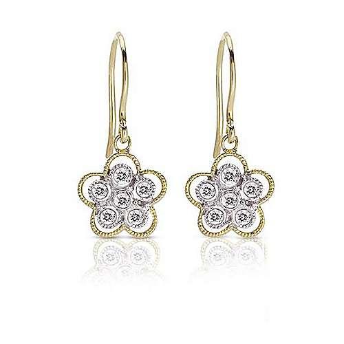 Gabriel - 14k Yellow/white Gold Floral Drop Earrings