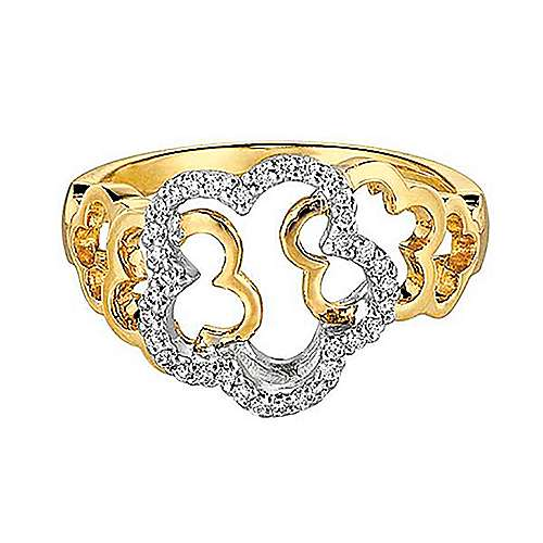Gabriel - 14k Yellow/white Gold Floral Fashion Ladies' Ring