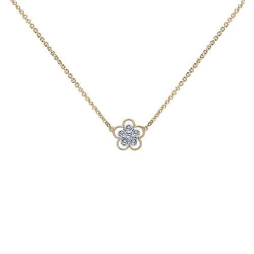 Gabriel - 14k Yellow/white Gold Floral Fashion Necklace