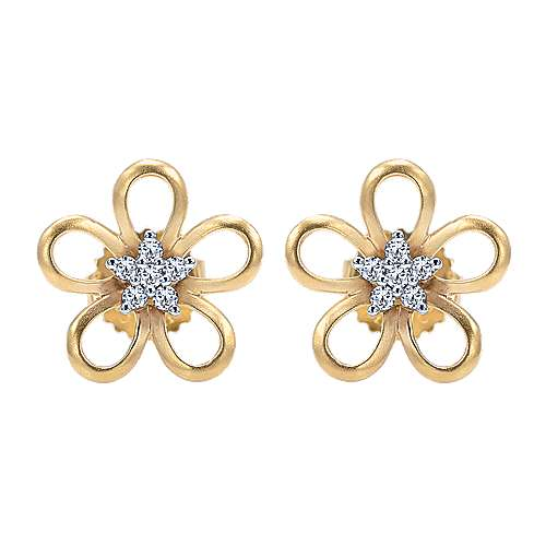 Gabriel - 14k Yellow/white Gold Floral Stud Earrings
