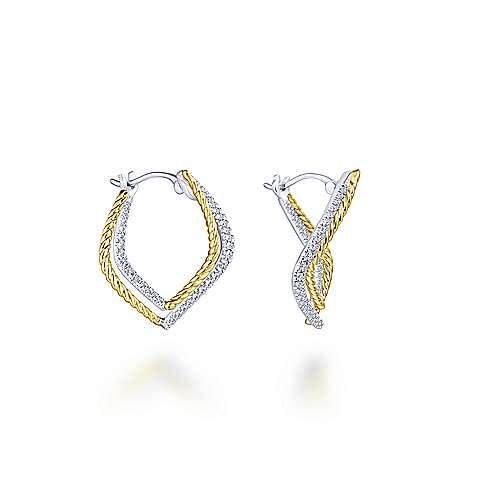 Gabriel - 14k Yellow/white Gold Hampton Classic Hoop Earrings