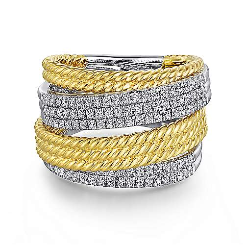 Gabriel - 14k Yellow/white Gold Hampton Wide Band Ladies' Ring