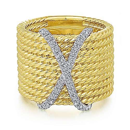 Gabriel - 14k Yellow/white Gold Hampton Wide Band Ladies' Ring