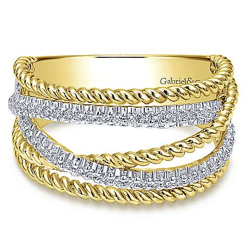14k Yellow/white Gold  Wide Band